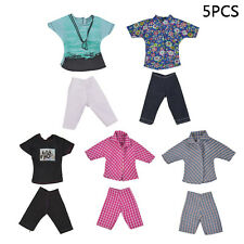 5 Sets Mini Barbie clothes Tops Pants Boy Coat Casual Suits Clothes Dolls Clothe