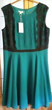 BNWT beautiful vintage inspired Monsoon teal & black lace occasion dress size 22