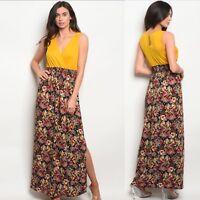 NWT Medium Women's Mustard Floral Maxi Dress Summer Boutique Top