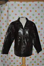 CARIBOU CREEK MENS L  BLACK  LEATHER JACKET DRESS COAT euc