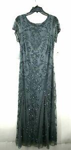 Pisarro Nights Womens Embellished Mesh Gown Jewel Neck Back Zip Cap Sleeves