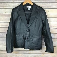 Bagatelle Womens Jacket Leather Black Solid Long Sleeve Button Up Moto Sexy