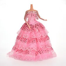 1 Pcs Pink Handmade Fashion Sequin Gown Dress For Barbie Doll Girl Birthday