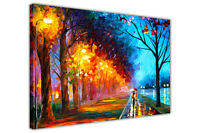 Alley By The Lake By Leonid Afremov Canvas Wall Art Pictures Painting Re-Print