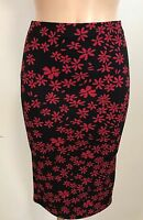 BLACK RED FLORAL CASUAL PENCIL TUBE WIGGLE STRETCH MIDI SKIRT SIZE 10-18