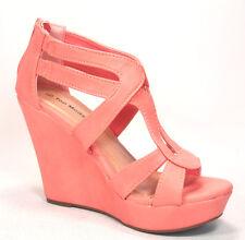 Fashion Women's Zipper Strappy Open Toe Wedge Platform Heel Sandal Shoes NEW