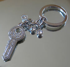 Car Key Shaped Keychain Palladium with Swarovski Rhinestones