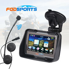 "4.3"" Car Motorcycle GPS Navigation SAT NAV 8GB IPX7+Wireless Bluetooth Headset"