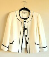 Tahari Arthur S. Levine blazer -Off-White with Black Embroidery - Size 6P-Petite