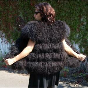 Fur Tibet Lamb Vest Lambskin Fur fur Jacket fur Vest Boho Velvet Dark Braun