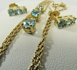 Petite Classy Blue Topaz Ears and Pendant Necklace set  Sale-Save 500.    #1338
