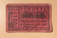 Toronto Transportation Commission Paper Fare Red OLD VINTAGE