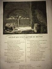 LA FONTAINE. LE RAT QUI S'EST RETIRÉ DU MONDE. FABLE ET GRAVURE 1834