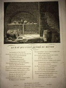 LA FONTAINE. LE RAT QUI S'EST RETIRÉ DU MONDE. FABLE ET GRAVURE, 1834.