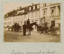 Norvège, Oslo, Christiania, gardien municipal à cheval  vintage albumen print,