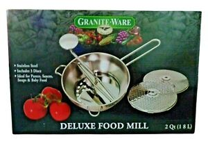 Granite Ware Deluxe Food Mill 2 Qt. Stainless 3 Discs Purees Sauces Soups Jelly