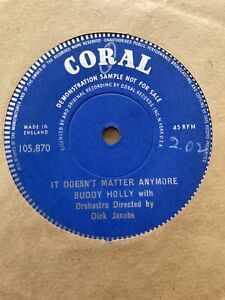 "Buddy Holly It Doesn't Matter Anymore Uk Coral One Sided Demo 7"" Single"
