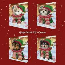Christmas Gingerbread Elf Dog Cat Pet Photo Canvas Wall Art Home Decor