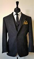Black Men Wool Suit Vintage Tweed Check Prom Groom Tuxedos Wedding Suit Custom