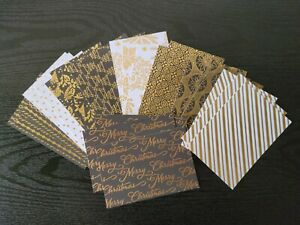 B METALLIC CHRISTMAS HOLIDAY CARD STOCK 4 BY 6 INCH 3 EACH OF 9 DESIGNS 27 PIECE