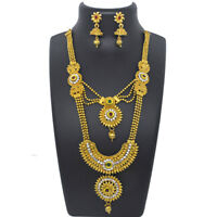 Indian Ethnic Golden Multi Color Long Necklace Earrings Bridal Jewellery Set