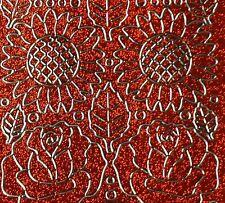 Sheet Orange Glitter Silver Flower Rose Daisy Card Making Stickers Craft 1217s6