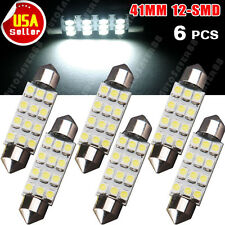 6x Pure White 41/42MM Festoon 12SMD LED Dome Map Interior Light Bulb 578 211 212