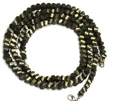 "Natural Gemstone Golden Pyrite Faceted 6 to 8MM Size Twisted Beads 19"" Necklace"