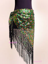 Belly Dance Peacock Hip Scarf Belt Sequins Tribal Fringe Triangle Shawl 4 colour