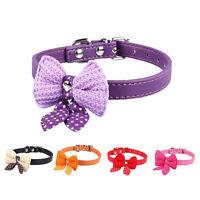 Pet Dog Cat Adjustable Cute Knit Bowknot PU Puppy Collars Necklace Belt DSUK