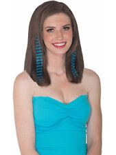 Set of 2 Teal and Black Striped Punk Glamour Costume Hair Extensions