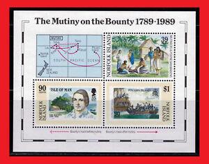 ZAYIX - 1989 Norfolk Island 456 MNH - Mutiny on the Bounty souvenir sheet / ship