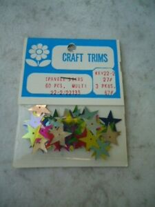 Franks Nursery Craft Trims Multi Colored 16mm Spangle Stars 60 Pieces