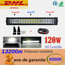 """24"""" 120W Barre LED 4D LENS Spot Flood combiné à SUV Quad phare de travail 4X4"""