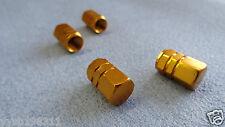 ALFA ROMEO GOLD FULL METAL DUST VALVE CAPS TYRE WHEEL SOLID HEXAGON COVER