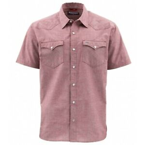 Simms M's No-Tellum LS Shirt Rusty Red Chambray Size XL New with Tags NWT $80