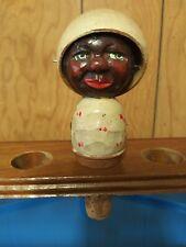 Rare Vintage 00004000  Anri Hand Carved 2 Faced Bottle Stopper Hat Flipper Black American