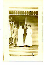 Couples on House Front Porch-Wood Newel Posts-RPPC-Vintage Real Photo Postcard