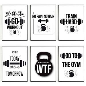 Gym Quotes Inspirational Motivational Wall Art Print Poster Sport Home Decor