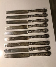 "(9) Tiffany & Co Olympian 10"" Dinner Knives Sterling Silver Mono ""S"""
