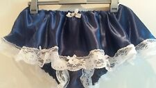 *NEW DESIGN * NAVY BLUE SATIN SKIRTED LACY  PANTIES SISSY CD TV