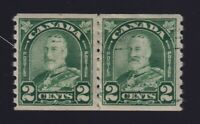 Canada Sc #180var (1930) 2c King George V Arch Coil Paste-Up Pair w/INK SMEARS