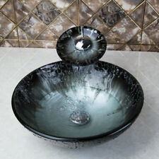 Round Bathroom Vessel Sink Tempered Glass Bowl Waterfall Faucet Mixer Tap