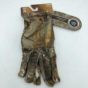Carhartt Mens Hand Warmer Pocket Liner Glove Brown Camouflage Stretch L