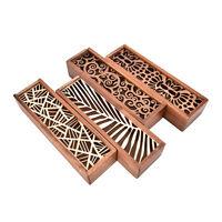 Creux en bois porte-crayon étui en bois maquillage cosmétique boîte de papeterie