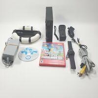 Nintendo Black Wii Console Super Mario Bros. & Mario Kart with Nerf Wheel Tested