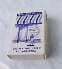 Vintage Matchbook Helen Sigel Wilson Charles Auberge Stratford Philadelphia Pa
