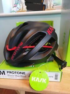 Kask Protone Road Cycling Helmet - Black Matte/ Red  medium