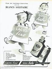 PUBLICITE ADVERTISING 066  1958  Solitaire cirage chaussures  enfants Soli-baby