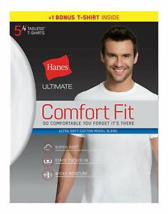 Hanes Ultimate Men's White T-Shirt 5 Pack Comfort Fit Crewneck Undershirt Short